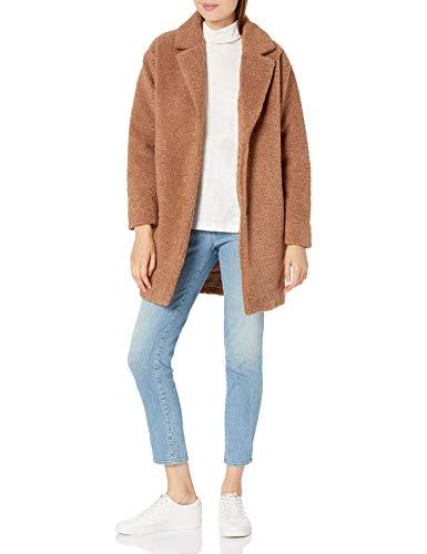Amazon Brand - Daily Ritual Women's Teddy Bear Fleece Oversized-Fit Lapel Coat, Camel, Medium