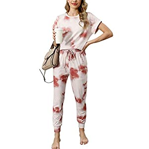 ANRABESS Women's Two Piece Outfit Tie Dye Short Sleeve Sweatsuit Crewneck Long Pants Lounge Sets with Pockets