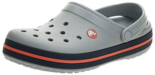 Crocs Unisex-Erwachsene Crocband Clogs, Light Grey/Navy, 36/37 EU