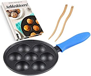 Best Cast Iron Aebleskiver Pan for Danish Stuffed Pancake Balls by Upstreet (Blue) Review