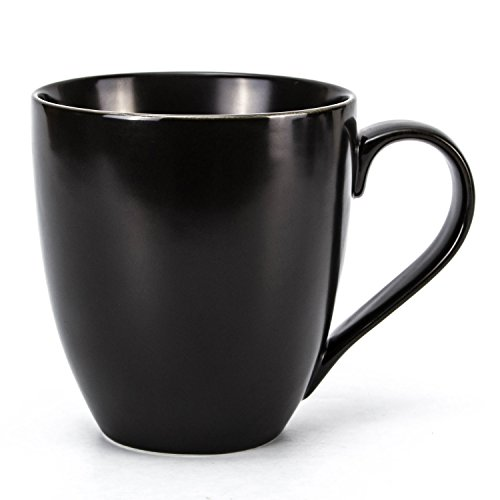 Hausmann & Söhne XXL Tasse groß schwarz Seiden-Matt aus Porzellan | Jumbotasse 500 ml (550 ml randvoll) | Kaffeetasse/Teetasse groß | Kaffeebecher | Schwarze Tasse 500 ml | Geschenkidee