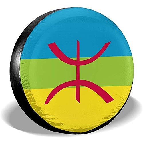 ETGeed Cubiertas de neumáticos de Ajuste Universal de Bandera bereber Cubierta de neumático de Repuesto a Prueba de Polvo a Prueba de Agua
