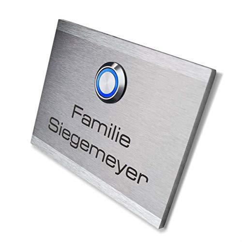 Metzler Türklingel mit Gravur - mit LED-Taster (verschiedene Farben wählbar) - inkl. Beschriftung - Unterputz-Montage - wasserdichter Taster - Maße: 16 x 12 cm