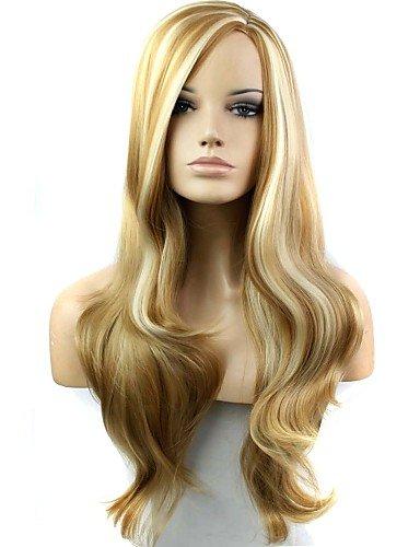 71,1 cm Blond résistant à la chaleur Fibre Synthétique Long Wave Perruque femelle