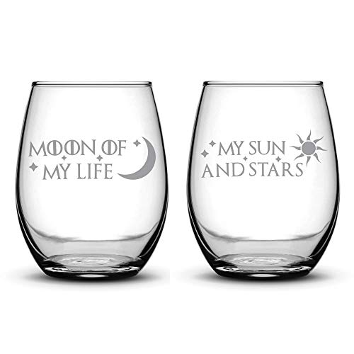 Integrity Bottles Premium Wine Glasses, Set of 2, Moon of My Life, My Sun and Stars, Hand Etched 14.2oz Stemless Gifts, Made in USA, Sand Carved
