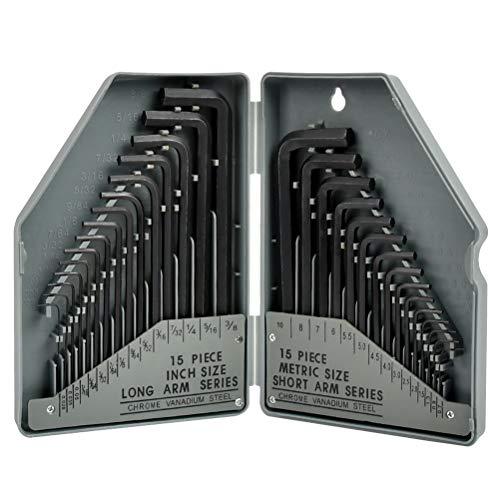 WOWOSS Juego de 30 Llaves Allen Hexagonales de 0,7 a 10 mm, llaves Allen en Medidas Métricas e Imperiales - con caja