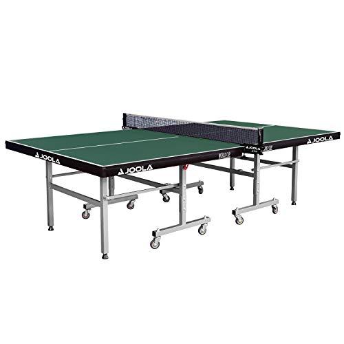 JOOLA Tischtennistisch World Cup - Indoor Tischtennisplatte Freizeitsport - Einklappbares Untergestell Schneller Aufbau, Grün, 22 MM Plattenstärke