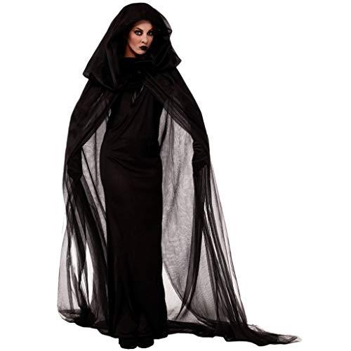 Damen Geisterbraut Hexen Vampir Böse Königin Lange Cosplay Kleid + Lange Vampir Umhang mit Kapuze +1 Paar Handschuhe Halloween Kostüm Karneval Fasching Erwachsene Kleider Abendkleid Schwarze Piebo