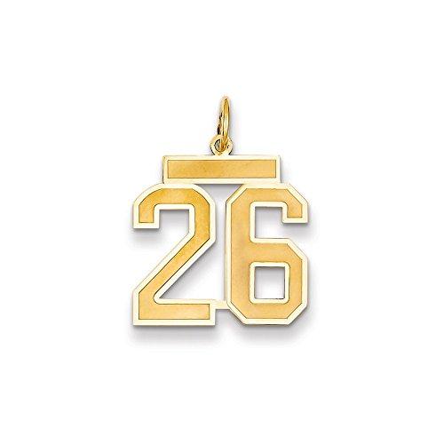 Abalorio con número 26 de oro amarillo de 14 quilates