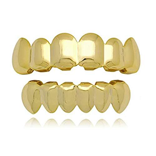 fantastic me 24K Gold Plated Hip Hop Punk Custom Fit Teeth Grillz Caps Top & Bottom Grill Set Removable (Gold)