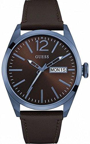Guess Herren Analog Quarz Uhr mit Leder Armband W0658G8