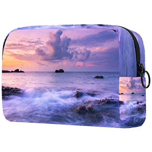 Seascape Sunrise Cosmetic bag Makeup Pouch Travel Portable for Women and Girl's clutch with Zipper