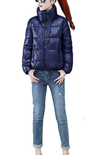 DYJXIGO Moda para mujer chaqueta Stand Collar corto Outwear aspecto mojado PU cuero brillante Puffer burbuja invierno