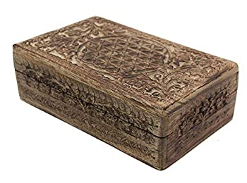 Hand Carved Jewelry Trinket Keepsake Wooden Storage Box  Large Flower Of Life