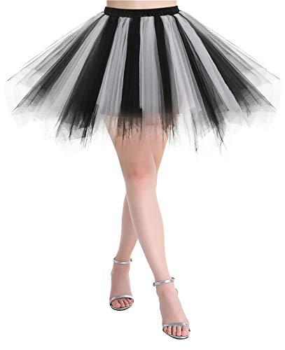 MuaDress Rétro Ballet Tutu en Tulle Jupe Courte sous Robe Jupon Tutu Petticoat Style années 50 Swing LXQBlack White S