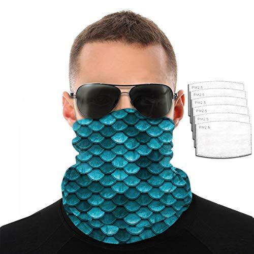 Hermosa toalla de cara con diseño de sirena, color azul, verde azulado, para hombres y mujeres, deportes al aire libre, resistente al viento, transpirable, variedad, color Con 6 filtros., tamaño talla única