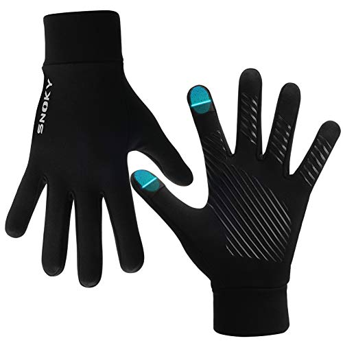 Snoky Running Gloves Cycling Bike Gloves Winter Gloves Biking Riding Driving Hiking Thin Workout Touchscreen Gloves Black Glove Liners for Cold Weather Ski Glove Liner Mittens for Men and Women Large