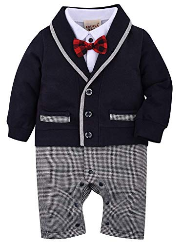 Product Image of the ZOEREA Baby Boys Romper Suits Bow Tie Baptism Wedding Tuxedo Jumpsuit Cotton,...