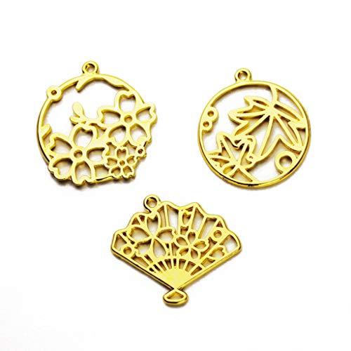ZJL220 3 piezas de colgante de hojas de arce con diseño de flores y marcos de resina en blanco para hacer joyas