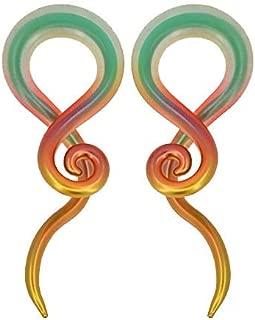 MoBody One Pair Pyrex Glass Ear Gauge Taper Hangers 4G-12mm Handmade Metallic Rainbow Glass Ear Gauge Plugs Set