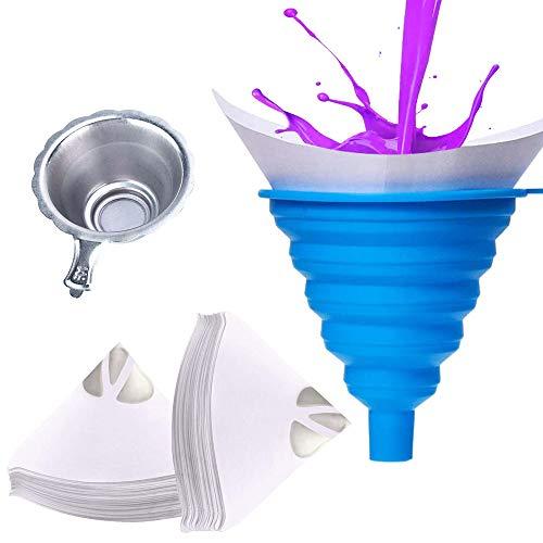ManLee 100pcs Farbsiebe Lackfilter Einweg Lacksiebe Papierfilter Resin Konisches Papier Lackierzubehör Auto Lack Resin Wassertransferdruck mit faltbarem Silikon Trichter (-30°C - +230°C)
