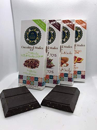 4 PZ - Cioccolato di Modica I.G.P. con PISTACCHIO VERDE DI BRONTE DOP, alla Mandorla, all'Arancia e Fondente 70%