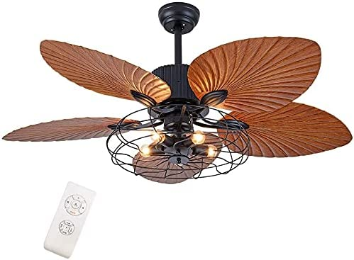 Furren Ceiling Fan with Lights Industrial  Lighting  Ceiling Fans Cage