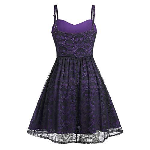 Women's Sleeveless Punk Dress Camisole Skull Print Lace Swing Dress Halloween Spaghetti Strap Steampunk Dress Goth Clothes Purple