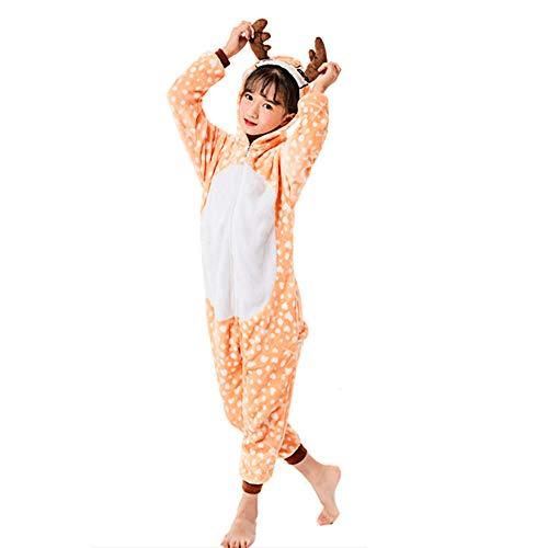 Pijamas Unisex de Unicornio para niños, Pijamas de Color Cervatillo para Cosplay, Ropa de Dormir de una Pieza, Disfraz de Halloween Grueso, Mono con Capucha, Mono de una Pieza, Ropa de Dormir (XL)