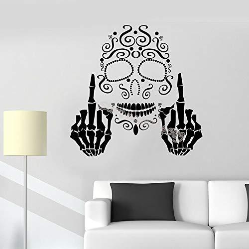 Dwzfme Pegatinas de Pared Adhesivos Pared Papel Pintado extraíble con patrón de Personalidad de Estilo gótico de Dedo de Hueso de cráneo para Mural de Dormitorio de Adolescentes 76x76cm