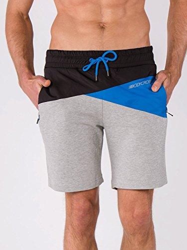 BODYCROSS Short Imperméable Homme Mirco Gris de Running Et Trail - Molleton en Coton/Polyester Et Extérieur Nylon - Ceinture Élastique Cordon de Resserage, 2 Poches Zippées