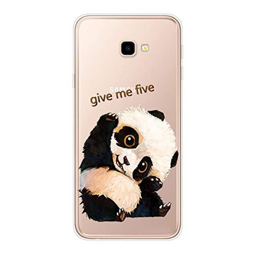 Homikon Silikon Hülle Karikatur TPU Tasche Handyhülle Transparente Durchsichtig Kirstall Clear Dünn Schutzhülle Stoßdämpfend Soft Case Kompatibel mit Samsung Galaxy J4 Plus 2018 - Winkender Panda