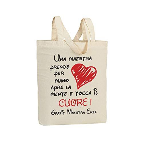 VestiLoStaff Shopper Idea Regalo Maestra Fine Anno Scolastico, in 100% Cotone Naturale, Personalizzato con Il Nome della maestra