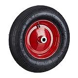 Relaxdays Roue de brouette caoutchouc 200 kg, roue de rechange sans axe, caoutchouc essieu 4.80 4.00-8, noir-rouge