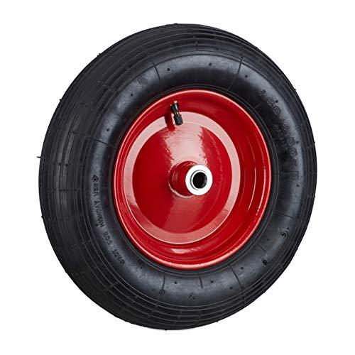 Relaxdays Schubkarrenrad 4.80 4.00-8 luftbereift, Komplettrad 120 kg Traglast, Luftreifen m. Ventil, schwarz-rot