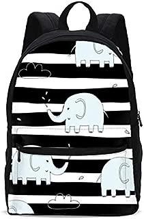 Cute Elephant with Stripe Kids School Backpack 17 Inch BookBag Teens Shoulder Travel Bag Rucksack for Boys Girls Back to School