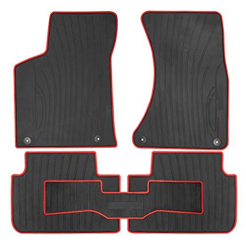 OREALTECH All Weather Waterdicht Originele Kwaliteit Automatten Vloermatten Floor Mats Liners Carpet Latex Zwart-Rood 5-delig voor Porsche Macan 2015-2018