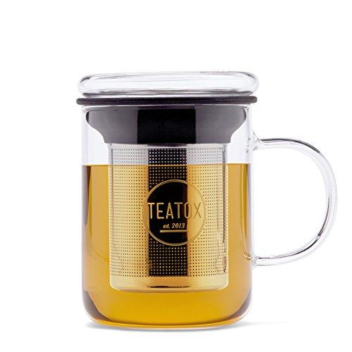 TEATOX Glass Tea Mug, Teetasse aus Glas mit Teesieb, Deckel und Henkel, 350ml