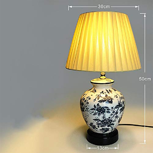 LuckyJX Chinese retro-tafellamp van keramiek, creatief, blauw en wit, porselein, tafellamp, creatief, elegant, woonkamer, decoratieve tafellamp