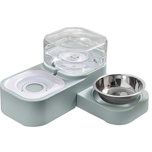 Homiki Dispensador de Agua Comedero automático de Doble Impulsor vibratorio para Perros Gatito del Perrito de Acero Inoxidable Artículos para Mascotas Accesorios Verde del Gato