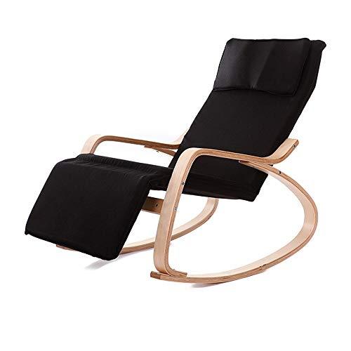 Mecedora Rocker Mecedora Sillón reclinable de relajación Lounging Asiento Ajustable Que se relaja con múltiples Estilos sillón reclinable Silla Relajante (Color : Black, Size : 87x120x66cm)
