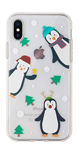 Buyus Xmas Case Designed for iPhone XR, Clear with Christmas Theme, Soft TPU Silicone Protective Cover with Cute Animal Pattern for Women and Girls (Holiday Penguins)