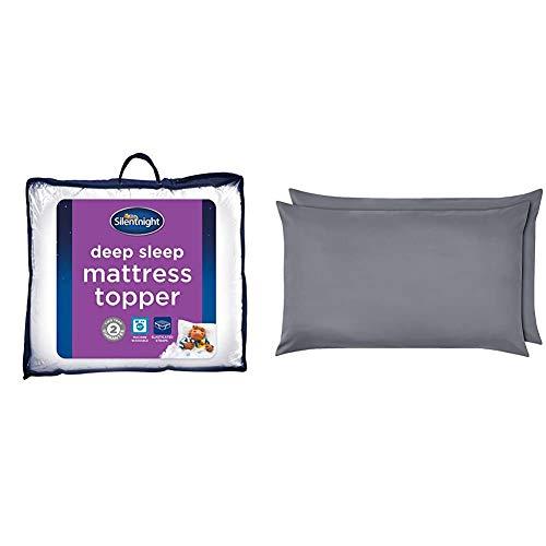 Silentnight Deep Sleep Mattress Topper, White, King & AmazonBasics Microfibre Pillowcases, Dark Grey – Set of Two