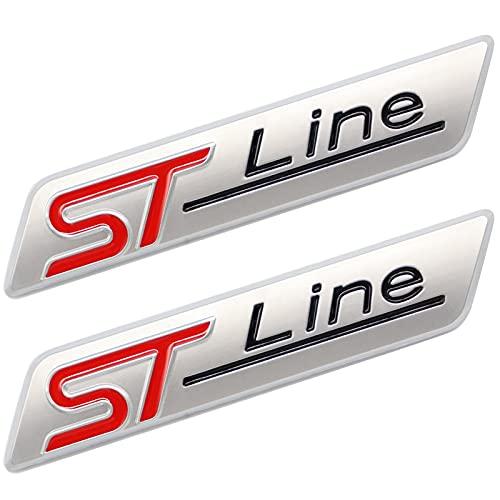 TAYDMEO 2 Pcs 3D Metall ST Line Aufkleber Autokopf Emblem Abzeichen Chrom Aufkleber, für Die meisten Automodelle