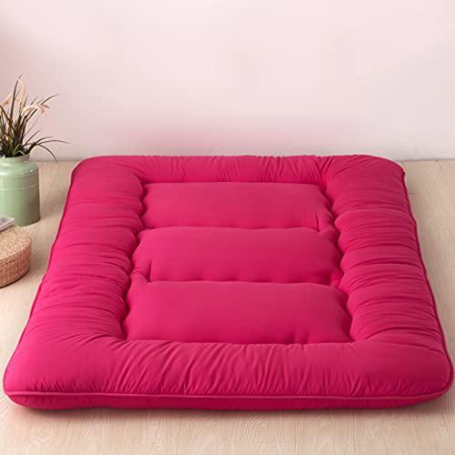 Colchón de futón Espuma de Memoria Rollo de Cama Plegable Silla de salón para Acampar Sofá Funda de cojín Tatami Grueso Doble Cama de Invitados Alfombra de Piso tamaño King japonés,Rojo,70.8×78.7×4in