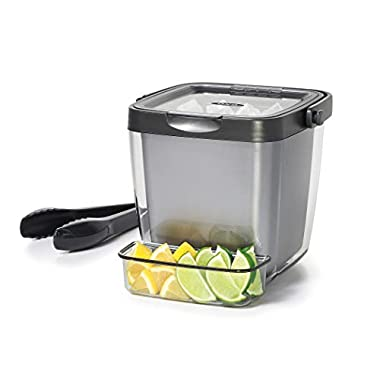 OXO 11169200 Good Grips Double Wall Ice Bucket with Tongs and Garnish Tray,Gray