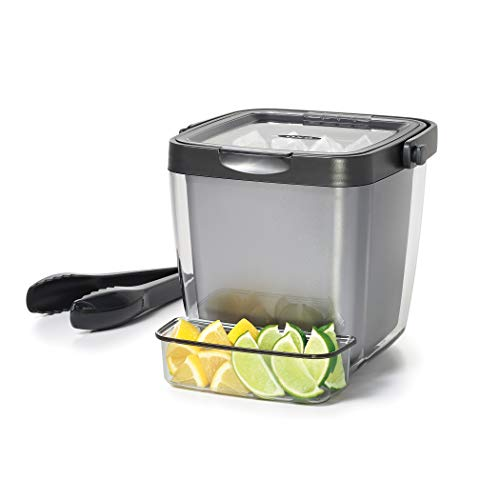 OXO Good Grips Double Wall Ice Bucket with Tongs and Garnish Tray,Gray