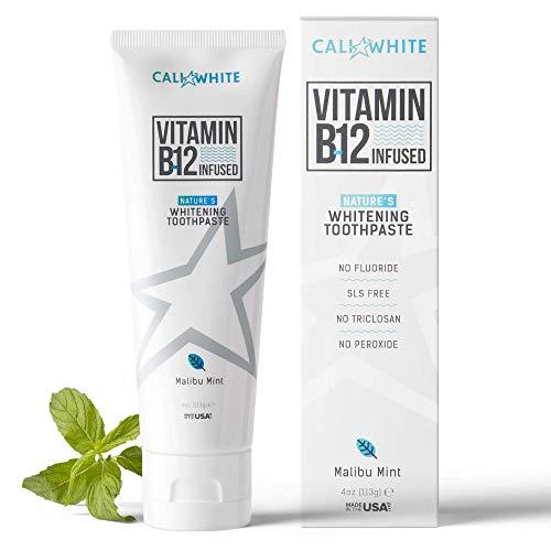 Cali White Vegan Whitening Toothpaste with Vitamin B12, Organic Mint, Fluoride-Free Toothpaste, SLS Free, Gluten-Free, Xylitol, Natural Toothpaste