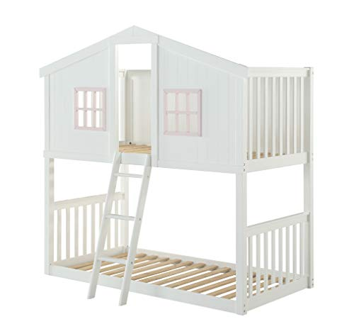 ACME Furniture Rohan Cottage Twin Bunk Bed, White & Pink