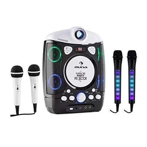 auna Kara Projectura con Set micrófonos Dazzl - Karaoke , Proyector LCD , Reproductor CD y USB , Compatible MP3 , Efecto Luces LED , Regulador Eco y Balance , Ajuste Volumen Independiente , Negro